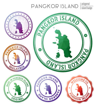 Pangkor Island badge. Colorful polygonal island symbol. Multicolored geometric Pangkor Island set. Vector illustration.
