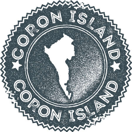 Coron Island map vintage stamp. Retro style handmade label, badge or element for travel souvenirs. Dark blue rubber stamp with island map silhouette. Vector illustration. Ilustracja