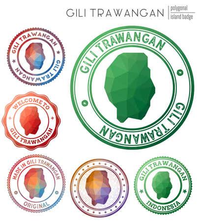 Gili Trawangan badge. Colorful polygonal island symbol. Multicolored geometric Gili Trawangan set. Vector illustration.