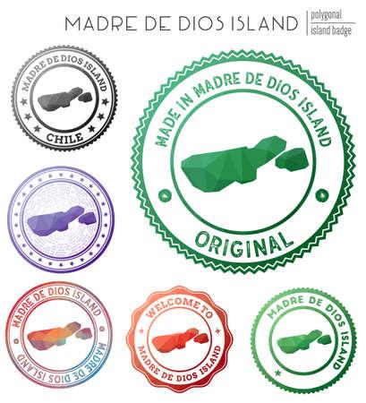 Madre de Dios Island badge. Colorful polygonal island symbol. Multicolored geometric Madre de Dios Island set. Vector illustration.