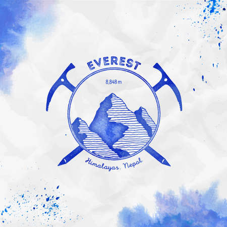 Everest. Climbing mountain blue vector insignia. Everest in Himalayas, China outdoor adventure illustration. Climbing, trekking, hiking, mountaineering and other extreme activities template.