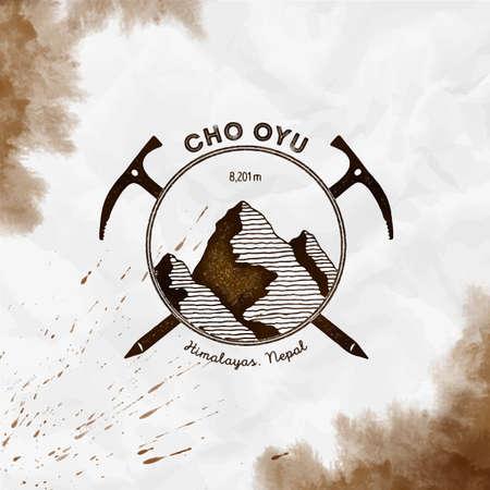 Cho Oyu. Climbing mountain sepia vector insignia. Cho Oyu in Himalayas, Nepal outdoor adventure illustration.