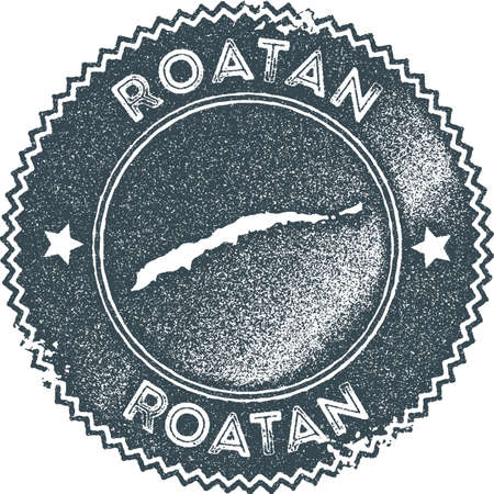 Roatan map vintage stamp. Retro style handmade label, badge or element for travel souvenirs. Dark blue rubber stamp with island map silhouette. Vector illustration.