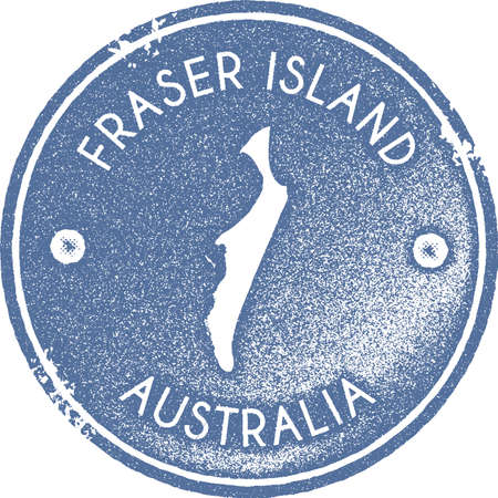 Fraser Island map vintage stamp. Retro style handmade label, badge or element for travel souvenirs. Light blue rubber stamp with island map silhouette. Vector illustration.  イラスト・ベクター素材