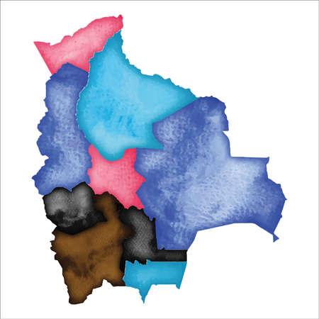 Mappa della Bolivia. Mappa di Bolivia acquerello colorato. Accattivante illustrazione vettoriale del paese.