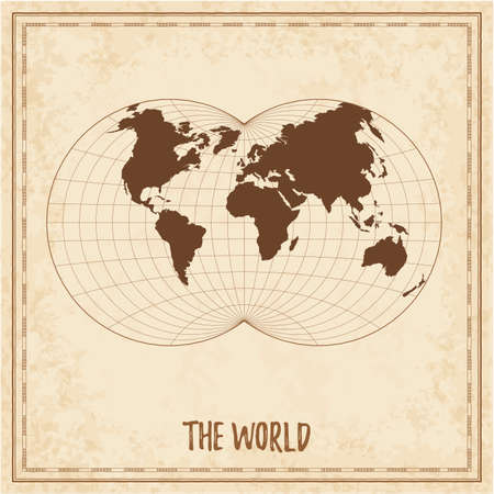 Old world map. Van der Grinten IV projection. Medieval style treasure map. Ancient land navigation atlas. Vector illustration. Stock Illustratie