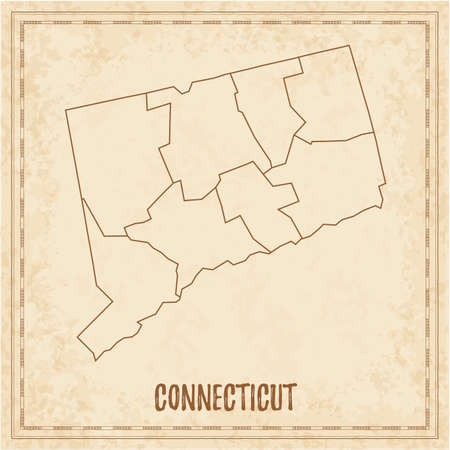 Pirate map of Connecticut. Blank vector map of the Us State with counties. Vector illustration.