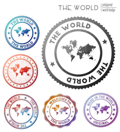 The World badge. Colorful polygonal world symbol. Multicolored geometric The World set. Vector illustration.