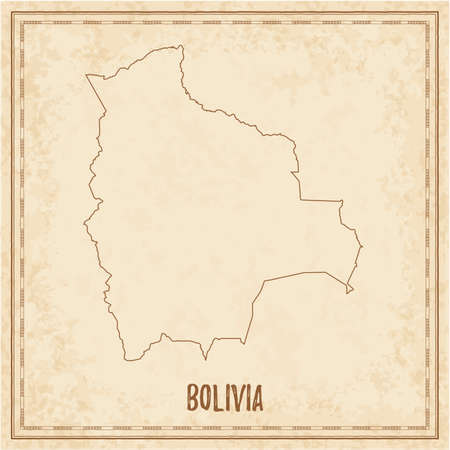 Pirate map of Bolivia. Blank vector map of the Country. Vector illustration.