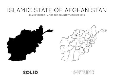 Afghanistan map. Blank vector map of the Country with regions. Borders of Afghanistan for your infographic. Vector illustration.