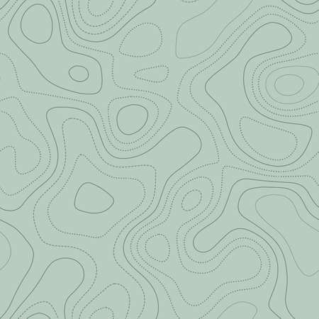 Abstract topography. Actual topographic map in green tones, seamless design, quaint tileable pattern. Vector illustration.