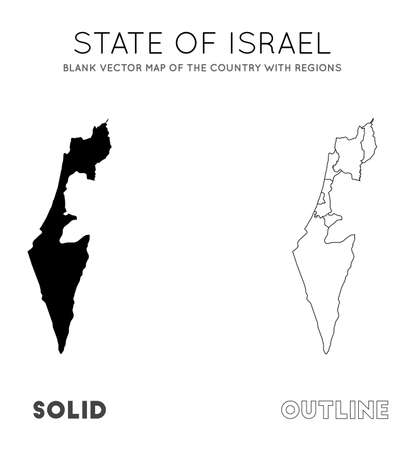 Israel map. Blank vector map of the Country with regions. Borders of Israel for your infographic. Vector illustration.