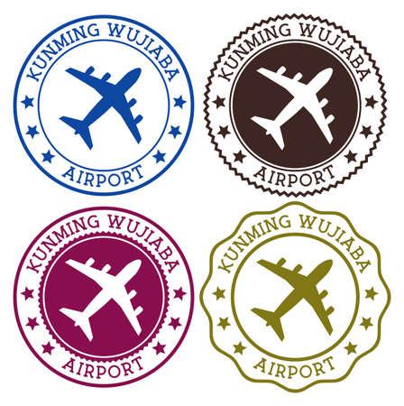 Flughafen Kunming Wujiaba. Flughafen Kunming. Flache Briefmarken in Materialfarbpalette. Vektor-Illustration.
