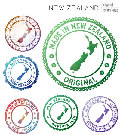 New Zealand badge. Colorful polygonal country symbol. Multicolored geometric New Zealand set. Vector illustration.