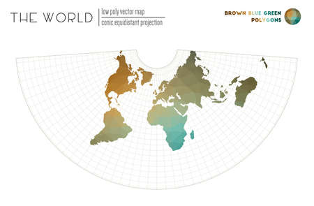 Polygonal world map. Conic equidistant projection of the world. Brown Blue Green colored polygons. Elegant vector illustration.
