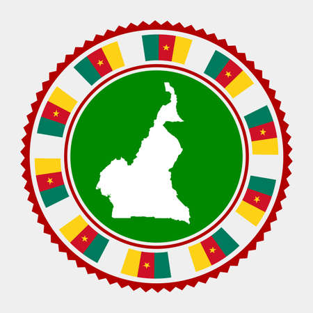 Cameroon flat stamp. Round map and flag of Cameroon. Vector illustration. Vettoriali