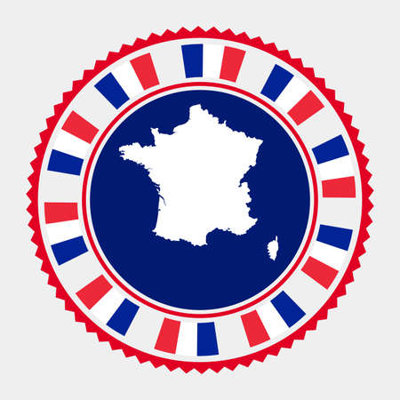 France flat stamp. Round map and flag of France. Vector illustration.