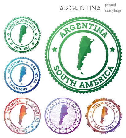 Argentina badge. Colorful polygonal country symbol. Multicolored geometric Argentina set. Vector illustration.