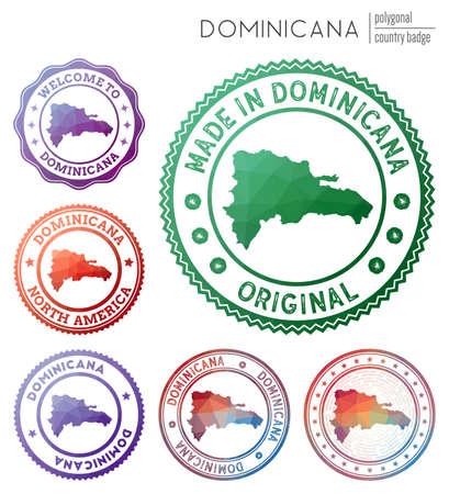 Dominicana badge. Colorful polygonal country symbol. Multicolored geometric Dominicana set. Vector illustration. Vektoros illusztráció