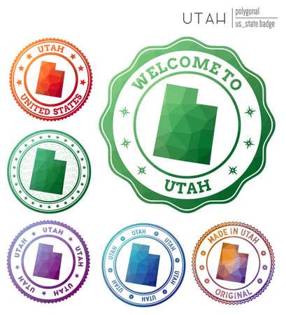Utah badge. Colorful polygonal us state symbol. Multicolored geometric Utah set. Vector illustration.