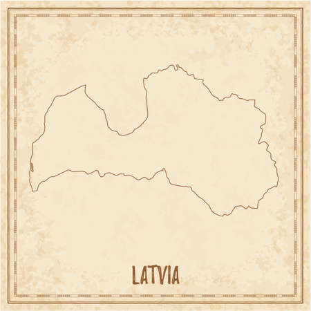Pirate map of Latvia. Blank vector map of the Country. Vector illustration. Ilustração