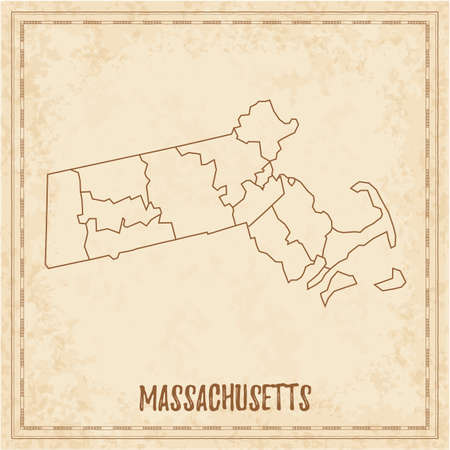 Pirate map of Massachusetts. Blank vector map of the Us State with counties. Vector illustration.