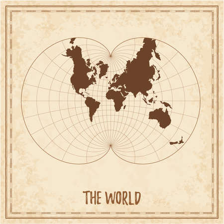 Old world map. Augusts epicycloidal conformal projection. Medieval style treasure map. Ancient land navigation atlas. Vector illustration.