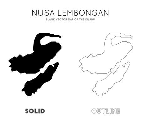 Nusa Lembongan map. Blank vector map of the Island. Borders of Nusa Lembongan for your infographic. Vector illustration. Illustration