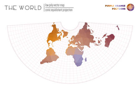 World map with vibrant triangles. Conic equidistant projection of the world. Purple Orange colored polygons. Trending vector illustration.