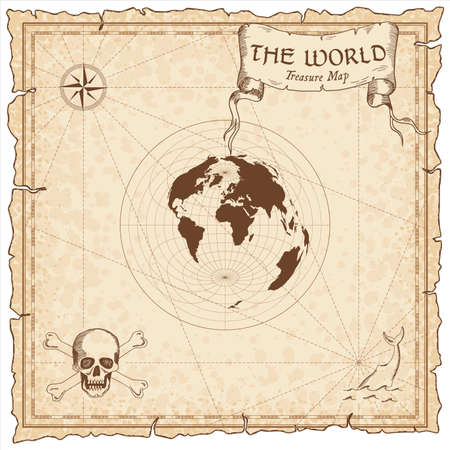 World treasure map. Pirate navigation atlas. Azimuthal equidistant projection. Old map vector. Illustration