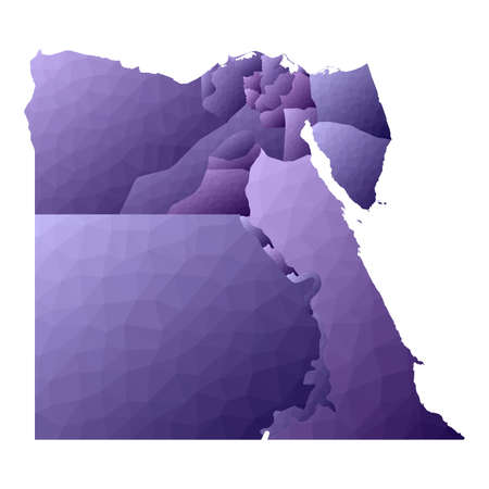 Egypt map. Geometric style country outline. Grand violet vector illustration. 版權商用圖片 - 129543366