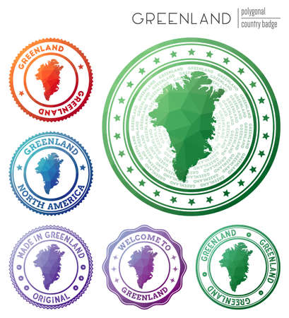 Greenland badge. Colorful polygonal country symbol. Multicolored geometric Greenland set. Vector illustration.