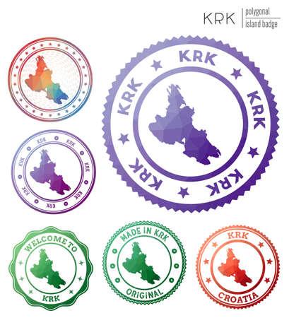 Krk badge. Colorful polygonal island symbol. Multicolored geometric Krk set. Vector illustration. Vektoros illusztráció