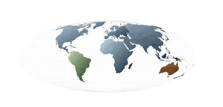 Low poly style world map. Bromley projection. Extraordinary vector illustration.