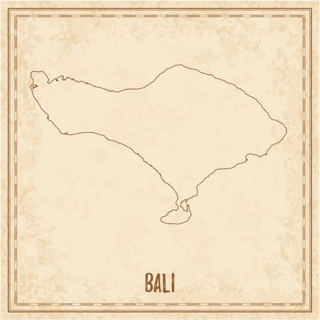 Pirate map of Bali. Blank vector map of the Island. Vector illustration.