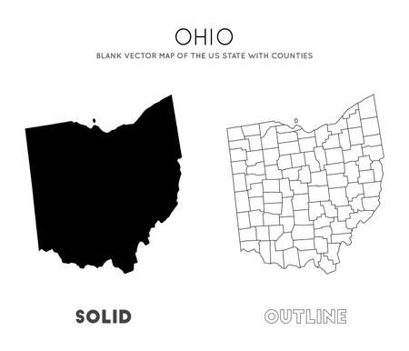 Ohio map. Blank vector map of the Us State with counties. Borders of Ohio for your infographic. Vector illustration.  イラスト・ベクター素材