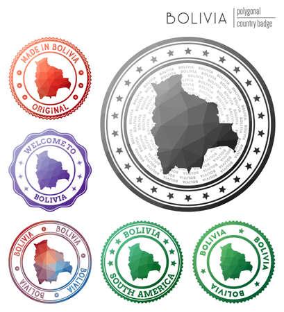 Bolivia badge. Colorful polygonal country symbol. Multicolored geometric Bolivia set. Vector illustration. Ilustrace
