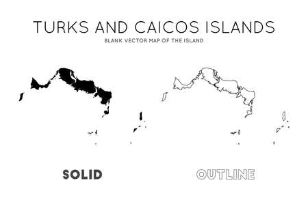 Turks and Caicos Islands map. Blank vector map of the Island. Borders of Turks and Caicos Islands for your infographic. Vector illustration.