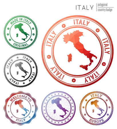Italy badge. Colorful polygonal country symbol. Multicolored geometric Italy  set. Vector illustration. 일러스트