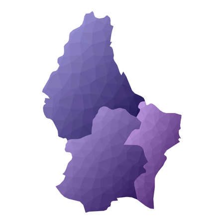 Luxembourg map. Geometric style country outline. Actual violet vector illustration.