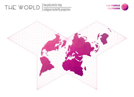 Polygonal world map. Collignon butterfly projection of the world. Red Purple colored polygons. Awesome vector illustration.