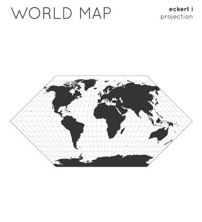 World map. Globe in eckert i projection, with graticule lines style. Modern vector illustration. 일러스트