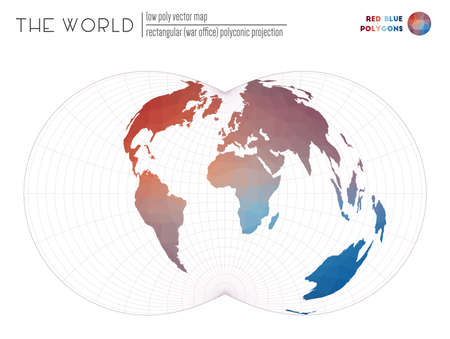 Abstract geometric world map. Rectangular (War Office) polyconic projection of the world. Red Blue colored polygons. Amazing vector illustration. 일러스트