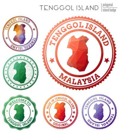 Tenggol Island badge. Colorful polygonal island symbol. Multicolored geometric Tenggol Island set. Vector illustration.