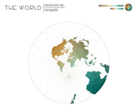 Low poly world map. Stereographic of the world. Brown Blue Green colored polygons. Beautiful vector illustration.