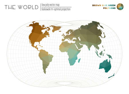 Polygonal map of the world. Laskowski tri-optimal projection of the world. Brown Blue Green colored polygons. Elegant vector illustration.