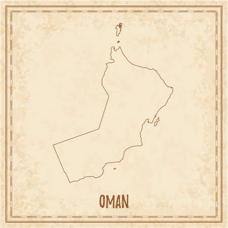 Pirate map of Oman. Blank vector map of the Country. Vector illustration.
