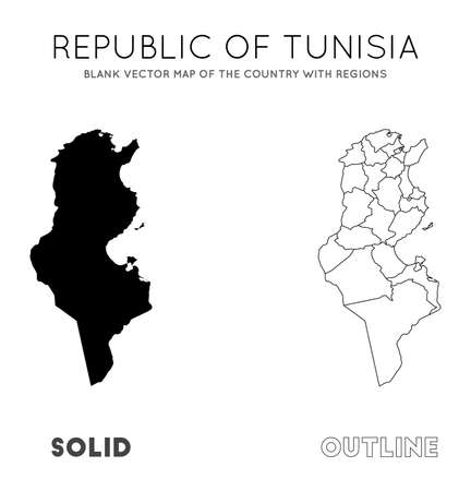 Tunisia map. Blank vector map of the Country with regions. Borders of Tunisia for your infographic. Vector illustration.