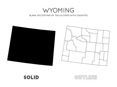 Wyoming map. Blank vector map of the Us State with counties. Borders of Wyoming for your infographic. Vector illustration.