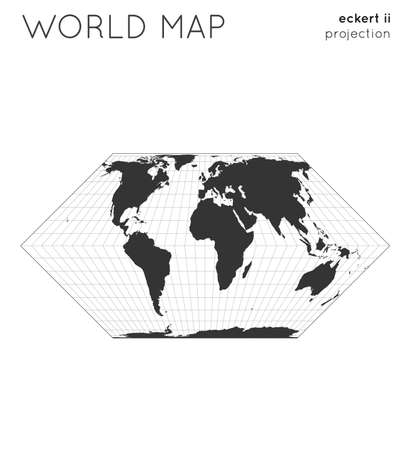 World map. Globe in eckert ii projection, with graticule lines style. Modern vector illustration.